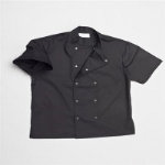 Black Short Sleeve Stud Fasten Chefs Jacket